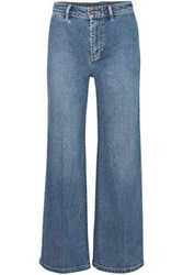 Vince. Woman Cropped Mid Rise Wide Leg Jeans Mid Denim