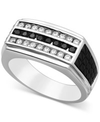 Macy's Men's Diamond Three Row Ring 3 4 Ct. T.W. In 10K White Gold And Black Rhodium Plate