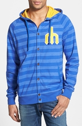 Mitchell And Ness 'Seattle Mariners' Stripe Button Front Jersey Hoodie Blue