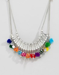 Asos Design Statement Engraved Collar Necklace With Pom Poms Silver