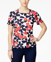 Alfred Dunner Printed Short Sleeve Top Floral