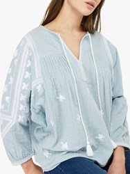 Monsoon Ellen Embroidered Blouse Blue