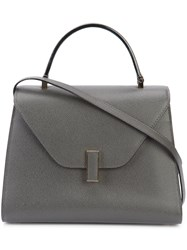 Valextra Shoulder Tote Bag Women Leather One Size Grey