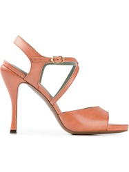 L'autre Chose Strappy Stiletto Sandals Yellow And Orange