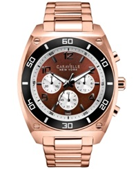 Caravelle New York By Bulova Men's Chronograph Rose Gold Tone Stainless Steel Bracelet Watch 44Mm 45A110 Women's Shoes