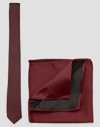 Asos Burgundy Tie And Pocket Square Pack Burgundy Red