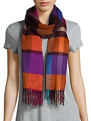 Fraas Plaid Patterned Fringed Scarf Royal