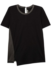 Reed Krakoff Black Cotton And Leather T Shirt