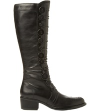Bertie Pixie Buttoned Knee High Boots Black