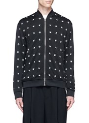 Mcq By Alexander Mcqueen Swallow Intarsia Blouson Jacket Black