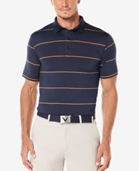Callaway Men's Striped Performance Golf Polo Shirt Peacoat