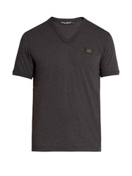Dolce And Gabbana V Neck Cotton Jersey T Shirt Grey