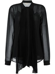 Michael Michael Kors Semi Sheer Bow Neck Shirt Black