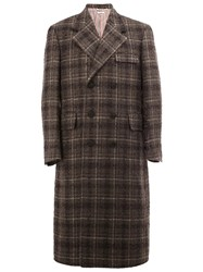 Thom Browne Long Checked Overcoat Grey