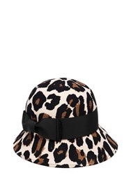 Kate Spade Leopard Wool Cloche With Bow