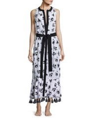 Proenza Schouler Falling Flowers Belted Cover Up Dress White