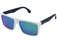 Carrera 5039 S Matte White Blue With Green Multilayer Lens Fashion Sunglasses