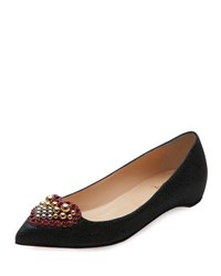 Christian Louboutin Coramia Woven Red Sole Skimmer Black