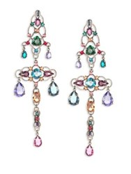 Lanvin Crystal Chandelier Clip On Earrings Multi
