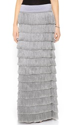 Free People Snowdrift Fringe Maxi Skirt Pearl Grey