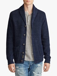 Ralph Lauren Polo Cotton Shawl Collar Cardigan Navy Ragg