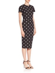 Victoria Beckham Daisy Print Sheath Dress Daisy Black Gold