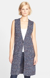 Theory 'Minareeya' Sleeveless Long Cardigan Navy Mix
