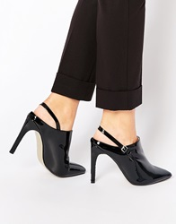 Truffle Collection Nova Strap Heeled Mules Blackpatent