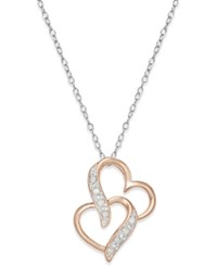 Macy's Diamond Two Tone Double Heart Pendant Necklace 1 10 Ct. T.W. In Sterling Silver And Rose Gold Plated Sterling Silver