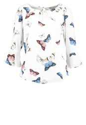 Dorothy Perkins Fluted Butterfly Blouse Multi Multicoloured