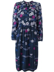 Lanvin Vintage Flower And Bird Print Dress Blue