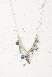 Forever 21 Feather Charm Longline Necklace B.Silver Blue