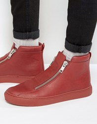 Asos Zip Trainers In Red With Chunky Sole Red