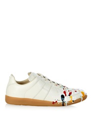 Maison Martin Margiela Replica Paint Splatter Leather Low Top Trainers