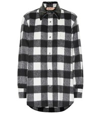 N 21 Checked Wool Blend Shirt Black