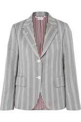 Thom Browne Striped Wool And Cotton Blend Blazer Gray