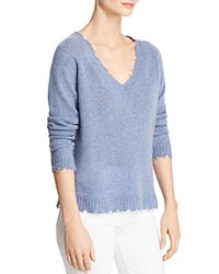 Minnie Rose Distressed Cashmere V Neck Sweater Blue Denim