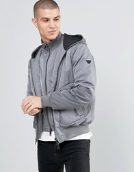 Armani Jeans Jacket With Hood And Mock Insert In Grey Water Repellent Grey