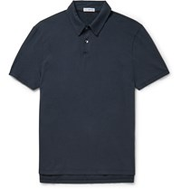 James Perse Slim Fit Cotton Jersey Polo Shirt Blue