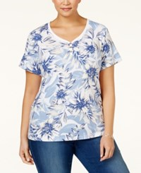 Karen Scott Plus Size Floral Printed Henley Top Only At Macy's Blue Whisper