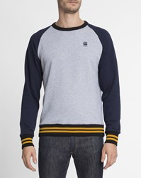 G Star Grey And Blue Striped Round Neck Prebase Sweatshirt