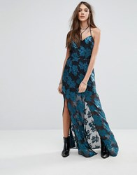 Lovers Friends Floral Cami Maxi Dress With Split Jade Multi