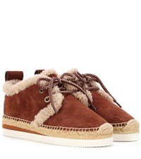 See By Chloe Suede Lace Up Espadrilles Brown