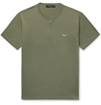 Ermenegildo Zegna Logo Embroidered Cotton Jersey T Shirt Army Green
