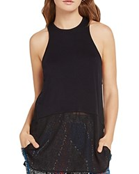 Bcbgeneration Mixed Media Racerback Tunic Top Black