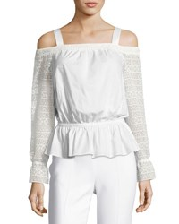 Ramy Brook Sylvie Lace Sleeve Cold Shoulder Blouson Top Ivory