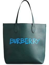 Burberry Graffiti Print Bonded Leather Tote Green