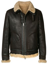 Jeckerson Front Zip Shearling Jacket Brown
