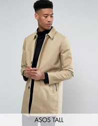 Asos Tall Single Breasted Trench Coat With Shower Resistance In Stone Stone Beige