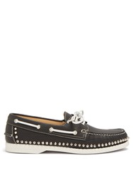 Christian Louboutin Steckel Stud Embellished Leather Deck Shoes Black